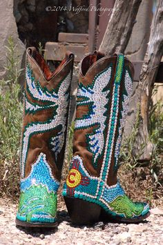 These boots were custom created for a Santa Fe wedding, by Jacqi Bling. The lovely bride just adored them!