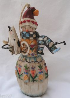 Jim Shore Heartwood Creek Snowman with Cat Ornament.  Enesco. Too cute !