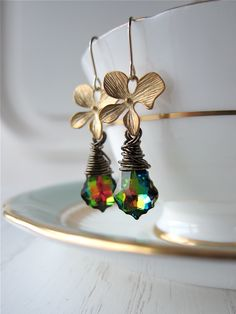 Rainbow Swarovski Crystal Orchid Dogwood Flower Earrings, Gunmetal Wire Wrapped, gift for her, gift under 40, gift under 50Rainbow Swarovski Crystal Orchid Dogwood Flower Earrings, Gunmetal Wire Wrapped, gift for her, gift under 40, gift under 50