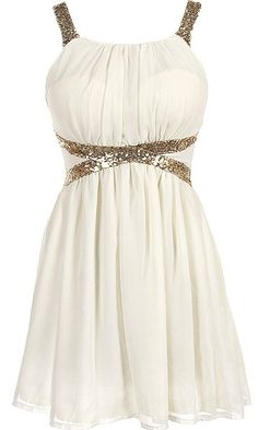 Wonder Girl Dress: Features a dreamy creamy chiffon foundation with padded bust for full support, glittering gold sequin straps and banding highlighting the waist, centered rear zip closure, and a gracefully gathered skirt to finish.
