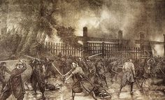 This emotive lithograph depicts the last stand of the Tokugawa supporters at Ueno on 4th July 1868. A torn copy is kept at the Memorial Museum in Ueno.