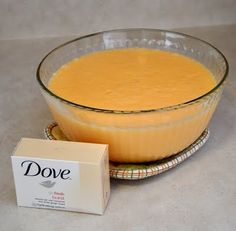 How to make your own Dove body wash!  And if you only want to make enough for one bottle full use a 3.15 oz.Dove bar and 1 1/2 (1.5) cups of water.