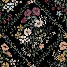 Floral Diamonds / Tudor Inspired Floral by Sarah Lown Seamless Repeat Vector Royalty-Free Stock Pattern Shape Patterns, Flower Patterns, Print Patterns, Border Pattern, Black Pattern, Painted Trunk, Baroque Decor, Surface Pattern Design, Tudor