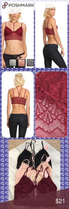 "🆕🔥Lace bralette w a center strap around neck A modern lace bra with a center strap around the neck. Semi-sheer triangle cup, long line bralette with thin adjustable straps. These could not get any sexier!  Comes in 3 colors: black, wine and blush  🎀 S/M band measures 12"" laying flat & best fits cup sizes A-B   🎀 M/L band measures 13"" laying flat and best fits cup sizes B-D  Also has stretch to both sizes. Add this under a vneck top for a sexy touch!   Comes from a smoke free home. All…"
