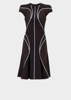Vestido cady elástico con líneas - negro/blanco Vestidos