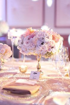 Tables with Metallic Linens and Low Centerpieces | Brides.com