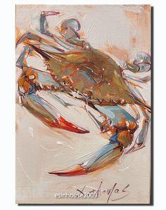 Original Art Crab Painting Oil on Canvas Blue Green Orange Tan Modern Art - Kunst Tätowierung Crab Art, Fish Art, Crab Painting, Painting Art, Louisiana Art, Louisiana Gumbo, Louisiana Recipes, Art Thomas, Nautical Art