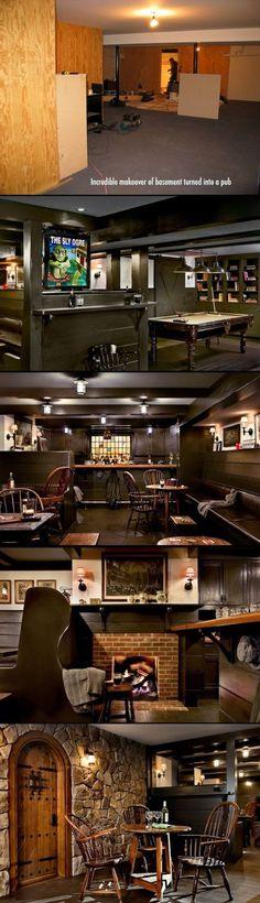 This could be your man cave. Turn a basement into a rustic Irish pub. Man Cave Basement, Man Cave Garage, Billard Bar, Billard Table, Pub Design, House Design, Irish Pub Decor, Irish Pub Interior, Home Pub
