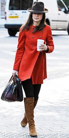 Red Zara coat.