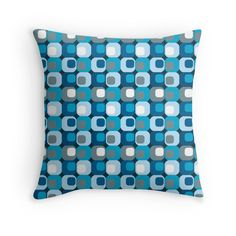 Retro Mod Blue Abstract  by pugmom4