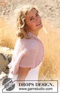 "Knitted DROPS bolero with lace pattern in ""Alpaca"". Size: S - XXXL ~ DROPS Design"