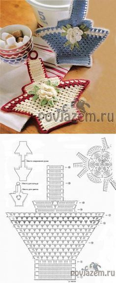 This is in Portuguese if you can read charts should be to do. o= chain, pb = single crochet, pa = treble. Crochet Potholder Patterns, Crochet Dishcloths, Crochet Diagram, Crochet Chart, Thread Crochet, Crochet Motif, Crochet Designs, Crochet Doilies, Crochet Kitchen