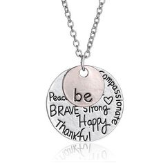 Be Brave Be Happy Silver and Rose Gold Plated Pendant