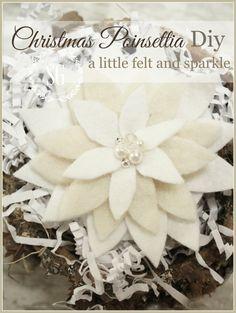 CHRISTMAS POINSETTIA FELT PIN-beautiful additon to dress or package-stonegableblog.com