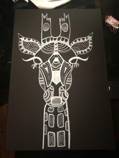 Giraffe black and white canvas
