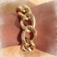 The HARPER Large Gold Curb Textured Copper by GlamourMeJewels, $25.00