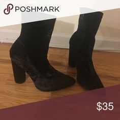 Velvet booties Velvety, thick heeled booties AKIRA Shoes Ankle Boots & Booties