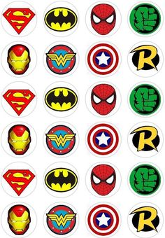 24 Super Hero Logo Retro Comic Book Cupcake fairy Cake Toppers Rice Wafer Paper in Crafts, Cake Decorating | eBay #cakedecoration