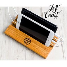 Men Gift Him Phone Stand Dock Dad Mom Boyfriend Personalized Man Charging Station Wood Techie Monogram iPhone Android Smartphone Double Slot ** For more information, visit image link.
