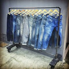 I'm not normally a fan of pre-distressed jeans but Desert Studio has done a pretty great job on this collection Ripped Jeans Men, Jeans Pants, Denim Display, Estilo Denim, Love Jeans, Raw Denim, Denim Outfit, Vintage Denim, Denim Fashion