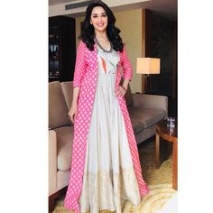 Salwar Kameez Images: New Arrival Stock of Designer Salwar Suits Indian Gowns, Indian Wear, Indian Outfits, Gown With Jacket, Silk Jacket, Churidar Designs, Donia, India Fashion, Women's Fashion