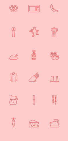 RNS Pictográfica Cocina by Yorlmar Campos, via Behance Web Design, Line Design, Icon Design, Flat Design, Kitchen Icon, 2 Logo, Wordpress, Food Icons, Patterns