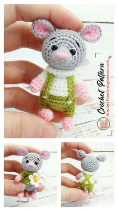 Crochet Parrot, Crochet Mouse, Free Crochet, Step By Step Crochet, Cute Mouse, Crochet Patterns Amigurumi, Learn To Crochet, Free Pattern, Crochet Necklace