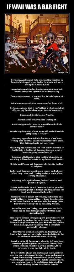 If WWI was a bar fight.....I'd have to make this a fight over Coke's at Sonic....but it could work!