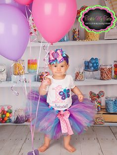 Butterfly Themed Birthday Tutu Outfit by TickleMyTutu on Etsy, $49.95