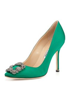 """Manolo BlahnikHangisi Satin Crystal-Toe Pump, GreenDetailsManolo Blahnik satin pump. 4"""" covered stiletto heel. Pointed toe with crystal buckle. Padded leather footbed. Leather lining and sole. """"Hangisi"""" is made in Italy. Sizing note: Manolo Blahnik runs small. We suggest that you order a half size larger than you typically wear."""