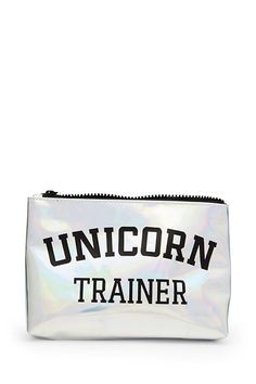 """A faux patent leather makeup bag featuring a """"Unicorn Trainer"""" graphic on both sides, a holographic finish, and a zip-top."""