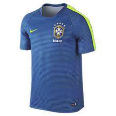 9bc7ab932 Men s Nike Brasil CBF Pre-Match Flash II Soccer Short-Sleeve Shirt Royal  Volt Size Large Dri-FIT fabric wicks sweat for dry comfort.