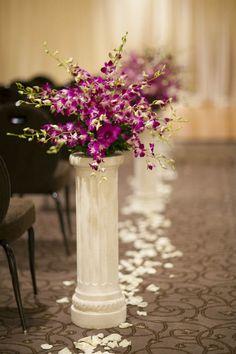 Lovely flower arrangements along the aisle