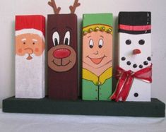 Hand-Painted Wooden 24 Christmas Decor featuring Santa Rudolph an Elf and a Snowman Wood Crafts Christmas Decor elf featuring Handpainted Rudolph Santa Snowman Wooden Christmas Wood Crafts, Christmas Signs Wood, Christmas Art, Christmas Projects, Holiday Crafts, Christmas Decorations, Christmas Ornaments, Santa Crafts, Outdoor Christmas