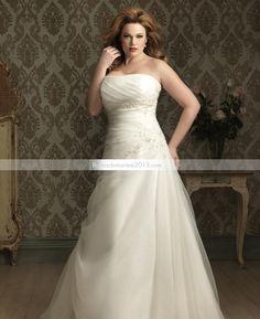 Fabulous A-line bretelles chapelle Appliques Floor-Length Plus Size robe de mariée