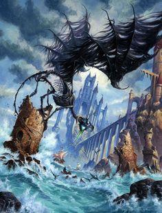Random Fantasy/RPG artwork I find interesting,(*NOT MINE) from Tolkien to D&D. Fantasy World, Dark Fantasy, Dungeons And Dragons, Cyberpunk, Medieval, Dragon Images, Black Dragon, Dragon Art, Dead Dragon