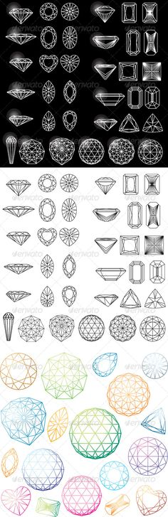 Set of Shapes of Diamond in Wireframe brilliant, carat, collection, crystal, diamond, emerald, facet, gem, gemstone, geometric, graphic, heart, jewel, outline, polygonal, princess, radiant, round, scintillate, set, shapes, square, stone, symbol, vector, wireframe vectors.work