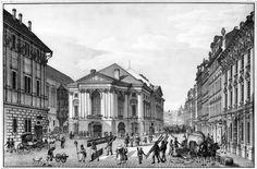 Ovocný trh a Nosticovo divadlo/Stavovské divadlo/ na grafice Vincence Morstadta.