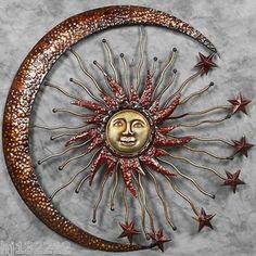 "CRESCENT MOON OVER SUN & STARS CELESTIAL METAL WALL ART 36"""