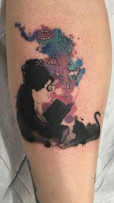 Book, Alice in Wonderland, Harry Potter, Dr. Seuss, Charlotte's Web, tattoo