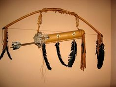 Native American Decorative Bow, Arrow and Quiver with coyote head pelt on quiver