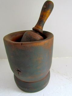 19th. century Mortar and Pestle with Blue Paint