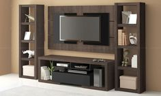 Conjunto para Sala de Estar com Rack, Painel e Torres laterais Terrano/Preto - Artely Tv Console Design, Tv Unit Design, Tv Wall Design, Partition Design, Living Room Tv, Living Room Modern, Hall Interior, Interior Design, Wall Mount Tv Stand