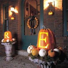 Give an entry fall style with monogrammed pumpkins. Get the free patterns here: http://www.bhg.com/halloween/pumpkin-carving/pumpkin-carving-ideas/?socsrc=bhgpin090212monogrampumpkins#page=20