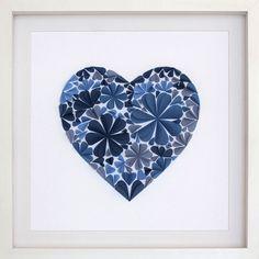 Paper Artwork: 3d Blossom Heart Blue