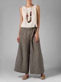 [original_tittle] – Bobbi Ketcham [pin_tittle] Linen Wide-Leg Pants Two Tone Grape Leaves Linen Dresses, Women's Dresses, Casual Street Style, Casual Chic, Smart Casual, How To Wear Culottes, Fashion Pants, Fashion Outfits, Dope Fashion