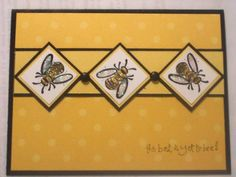 handmade card: Pesky Bugs by guidinggirl ... mustard yellow with brown accents ... luv this precise and symetrical design with layered inchies ... bees with shiny wings and bodies ... wonderful card!!