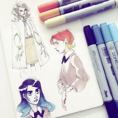 Really missed doodling on paper ✏️ #art #sketch #girls #copic
