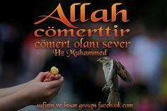 """""""Allah Cömerttir,Cömert Olanı Sever."""" Hz Muhammed [sav] """"İlim, cömertlik ve Allah korkusundan uzak olan insan, anlamsız kuru bir kalıptan ibarettir."""" Şeyh Sadi Şirazi"""