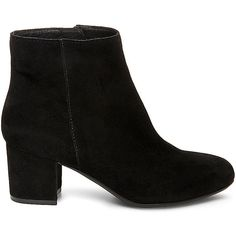 Steve Madden Women's Holster Booties ($100) ❤ liked on Polyvore featuring shoes, boots, ankle booties, ankle boots, heels, black, black suede, black booties, steve madden booties and mid heel booties